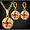 Tri-Tone Textured Love Knot Earrings and Necklace Set