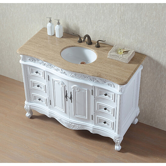 Buy 48 Inches White Saturn Single Sink Vanity with ...