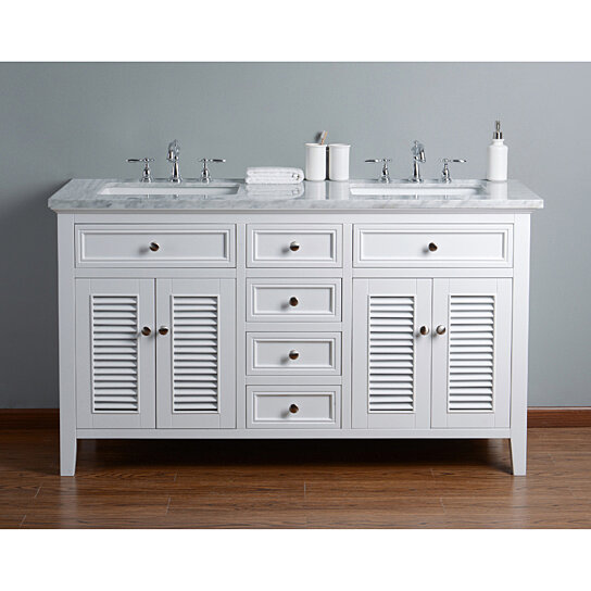 Buy Genevieve 60 Inches Double Vanity Cabinet w/ Shutter ...