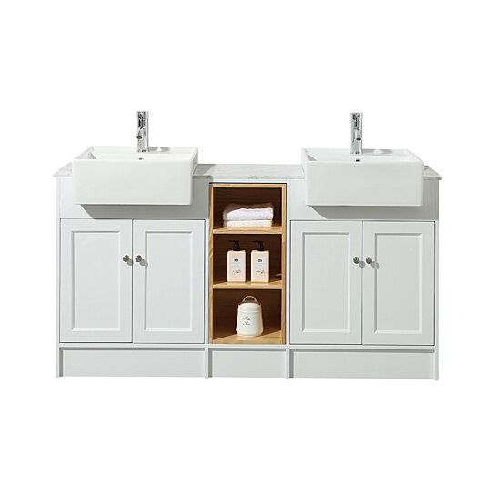 Buy Zevan 59 Inch White Double Sink Bathroom Vanity by myhomeandbath.com on Dot & Bo