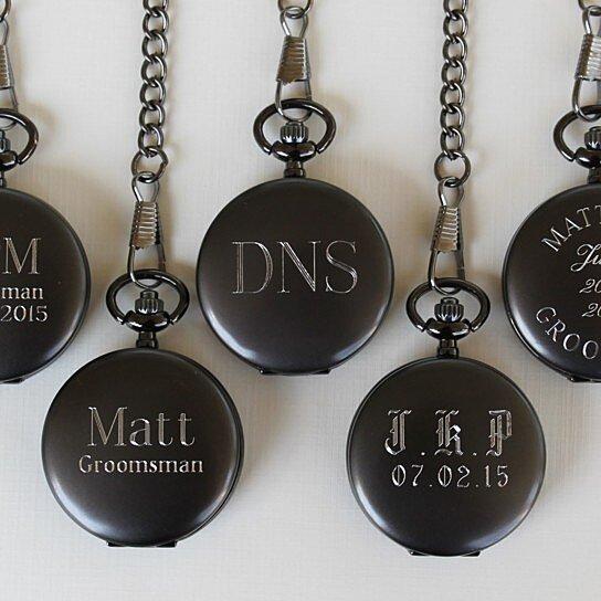 Wedding Gift From Groomsmen: Buy Personalized Gunmetal Pocket Watch