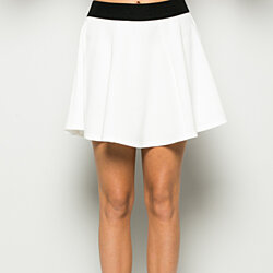 Micro Wafer White Skater Skirt