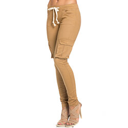 Mid Rise Skinny Wheat Cargo Pants