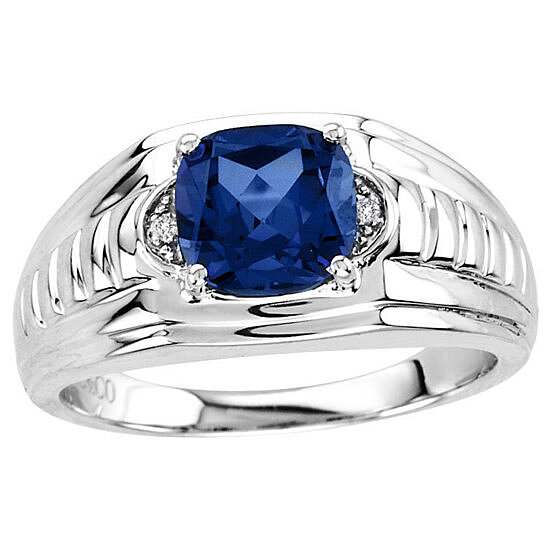 MENS BLUE SAPPHIRE DIAMOND ACCENT STERLING SILVER RING SIZE 8,9,10,11,12,13,