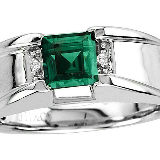 Buy Men S Emerald Ring In Sterling Silver With Genuine