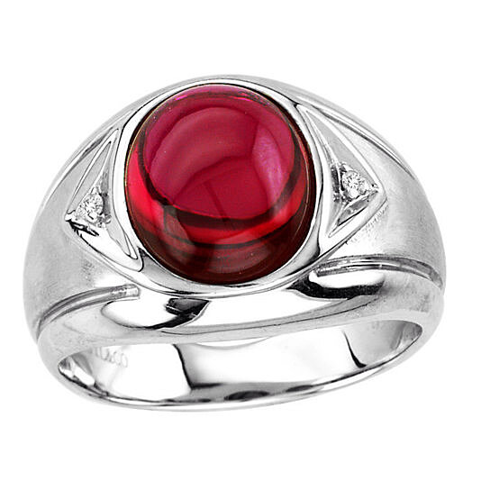 Buy Men S Oval Cabochon Ruby Ring In Sterling Silver By