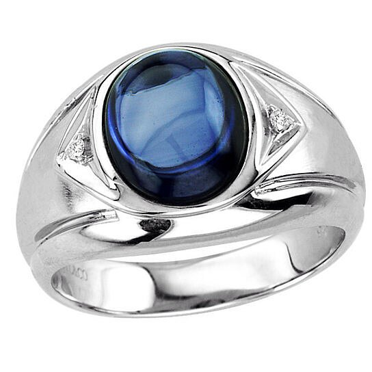 Buy Men S Oval Cabochon Sapphire Ring In Sterling Silver
