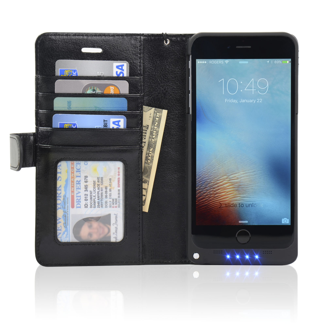 iPhone 6 Plus Folio PU Synthetic Leather Wallet Power Battery Case Ip6P-Btc 54e620114b3d6f726b8b565f