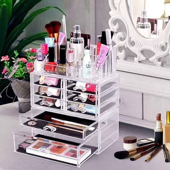 Buy Acrylic Makeup Organizer Cosmetic Storage Display Boxes Jewelry Chest 2  Pieces Set UJMU08T COS By Home Living Dream On OpenSky