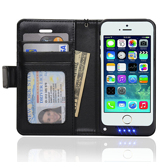 Case Design mens wallet cell phone case in 1 iPhone 5/5S Folio Wallet Case Extended Rechargeable Battery Case ...