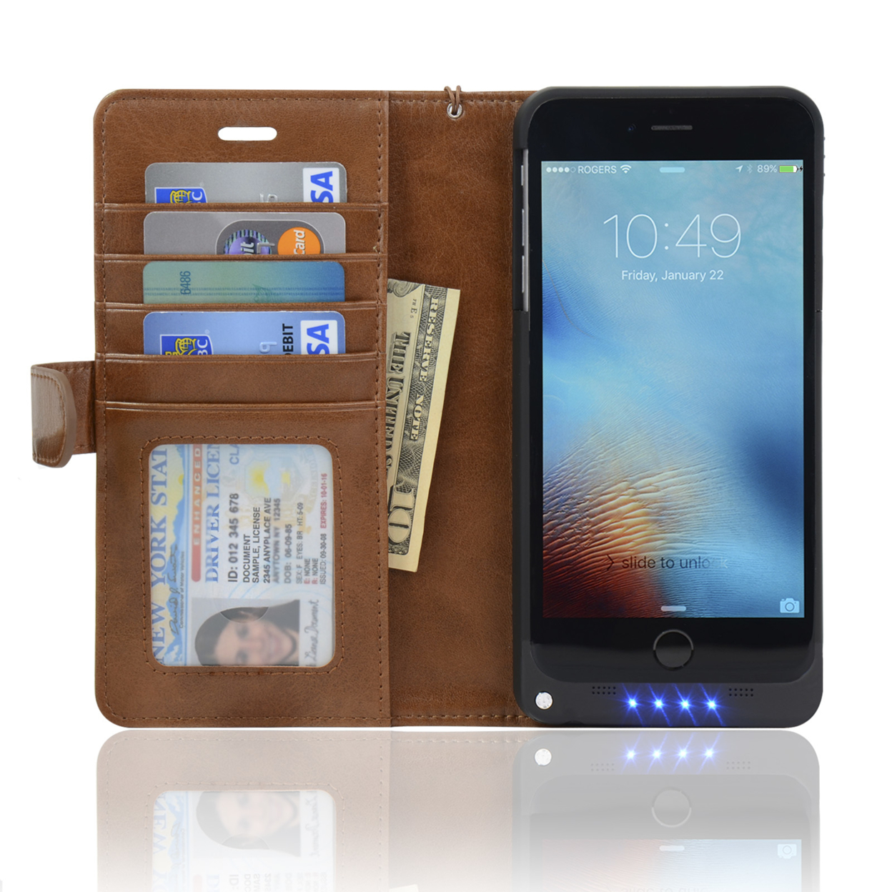 Navor Folio Wallet Power Battery Case 5000 mAh for iPhone Ip6P-Btc - Brown 57165daa913d6f29748b4757