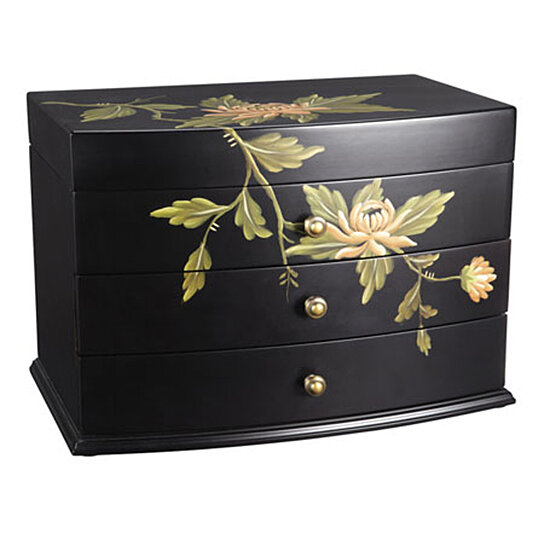 Buy new large wood flora jewelry chest box ample storage for Ample storage