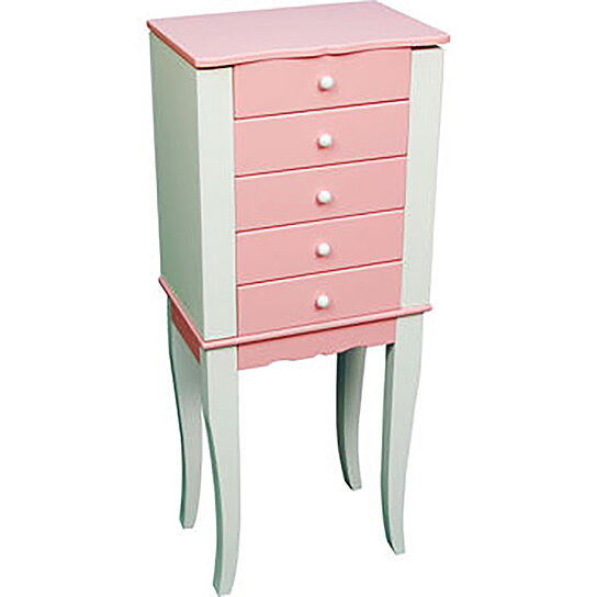 Buy pink and white finish solid wood jewelry armoire