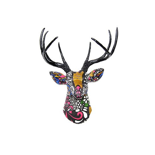 Bright And Vibrant Multi Colored Fabric Deer Faux Taxidermy Head Wall Mount Black White Yellow Pink Green Blue Fad3717 By Near On