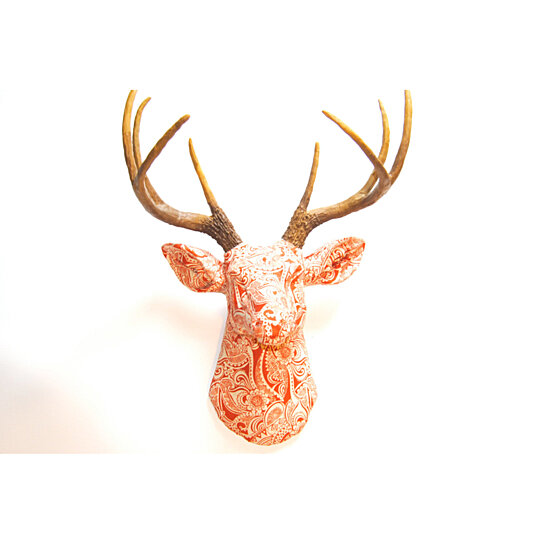 Deer Head Wall Mount Fabric Orange And White Antlers Faux Taxidermy Stag Fad03000 By Near On Dot Bo