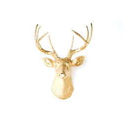 Deer Head Wall Mount - Metallic Gold - Deer Head Antlers Faux Taxidermy D0808