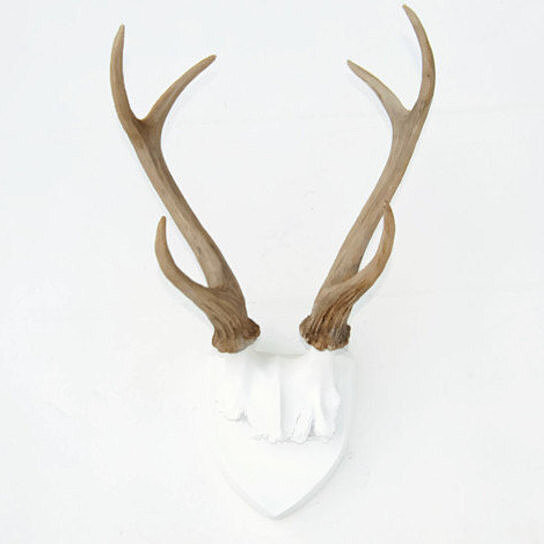 Faux Deer Antlers - White Plaque With Natural Antlers - Wall Mount- Faux  Taxidermy HT0100