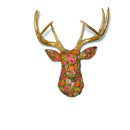 Buy Faux Fabric Deer Head Wall Mount Vibrant Floral