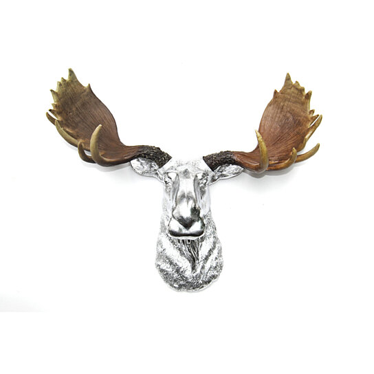 Buy faux taxidermy chrome moose head with natural antlers wall mount fake resin moose - Fake moose head mount ...