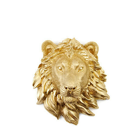 Faux Taxidermy Miniature Gold Lion Wall Mount Resin Decor Mli08