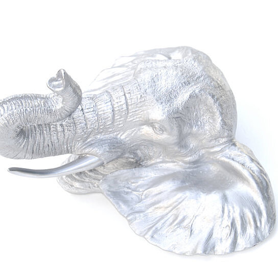 Buy faux taxidermy silver elephant wall mount elephant head home decor el10 by near and deer Silver elephant home decor