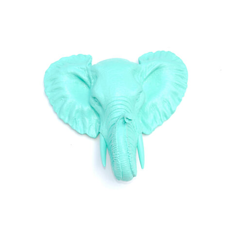 Buy Faux Taxidermy Small Aqua Elephant Wall Mount Resin Wall Decor Mel63 By Near And Deer On
