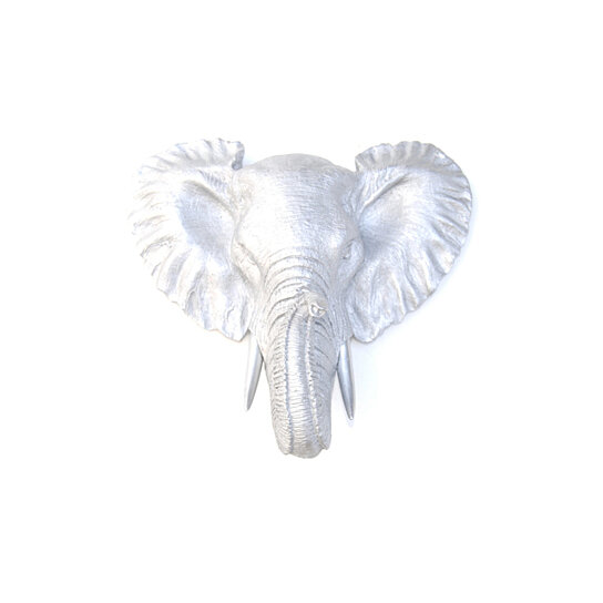 Buy faux taxidermy small silver elephant wall mount resin animal decor mel10 by near and deer Silver elephant home decor