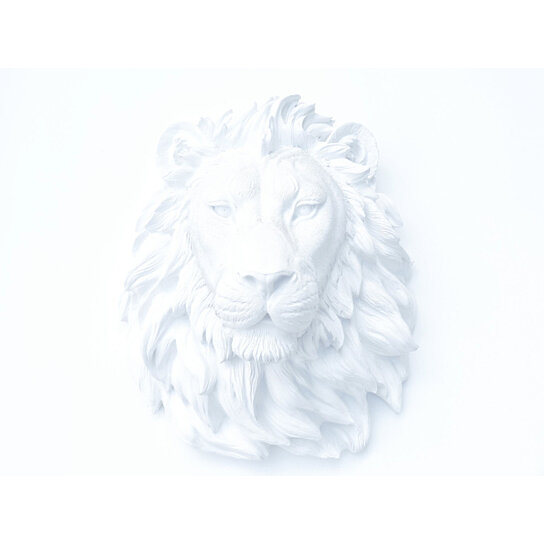 Faux Taxidermy White Lion Head Wall Mount L01