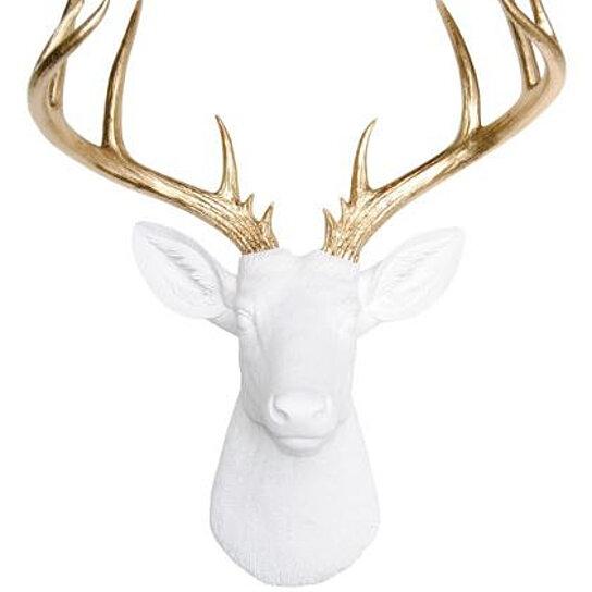 Buy Large Deer Head White And Gold Deer Head Wall Mount