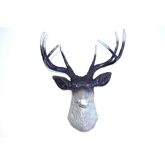 Buy ombre deer head decor purple and silver deer head antlers faux taxidermy wall mount - Silver stag head wall mount ...