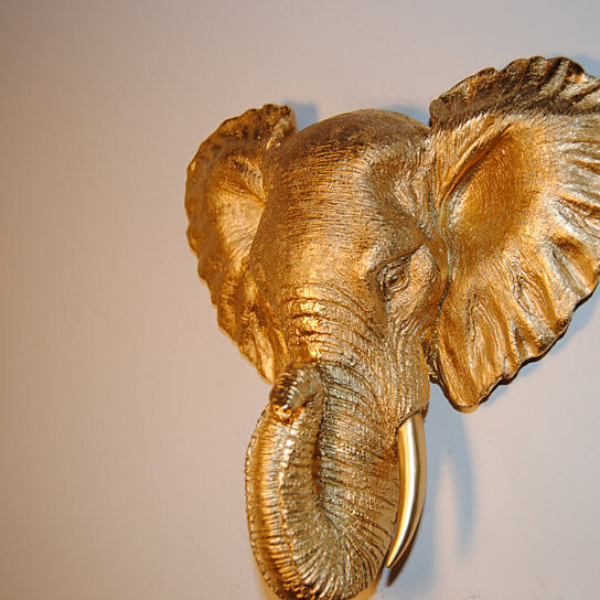 Gold Elephant Wall Decor : Buy small gold elephant wall mount faux taxidermy mel