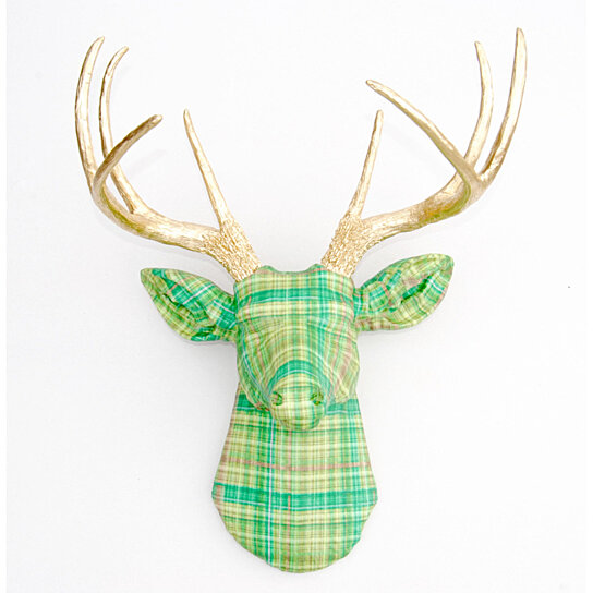 The Dublin Deer Green Plaid Fabric Faux Taxidermy Stag Head Wall Mount Fad3508 By Near And On Opensky