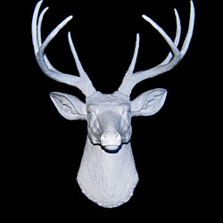 White Deer Head Wall Mount - Deer Head Antlers Faux Taxidermy D0101