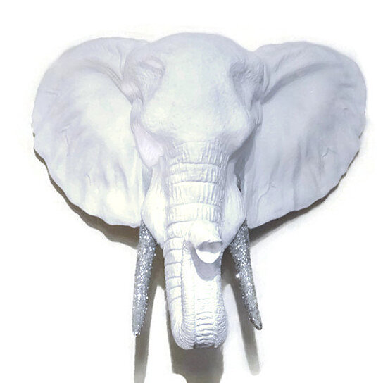 Buy White Elephant Head Wall Mount With Silver Glitter