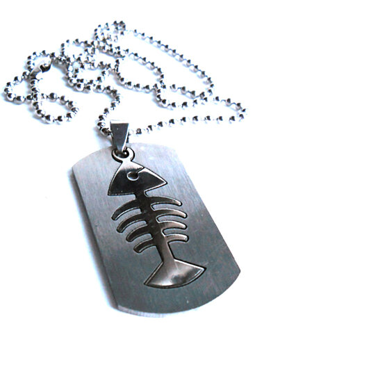 mens religious jewelry buy jesus fish necklace stainless steel metal mens 2197