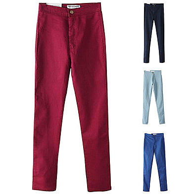 bdc14f3029b Fashion Women s Stretch Casual Slim Fit Skinny Pants Pencils Casual Solid  Long Trousers