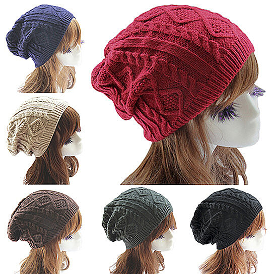 a216169e52589 Trending product! This item has been added to cart 26 times in the last 24  hours. Lady Women s Knit Winter Warm Crochet Hat Braided Baggy Beret Beanie  Cap