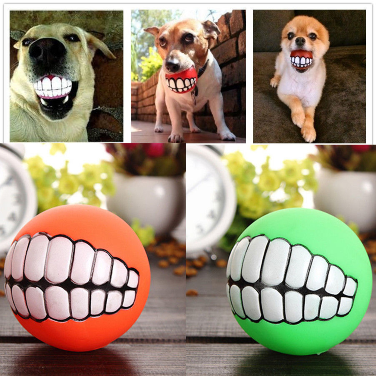 Pet Puppy Dog Funny Ball Teeth Silicone Toy Chew Sound Dogs Play Toys - Orange 58ed8d612c043d3878416f63