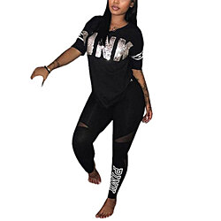 32ebf3550bc55c Women Letter Print Two Piece Outfits V Neck T-Shirt Tops and Skinny Long  Pants