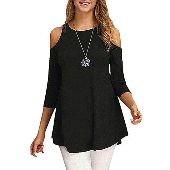 Trending product! This item has been added to cart 43 times in the last 24  hours. Womens Cold Shoulder Half Sleeve Swing Tunic Tops For Leggings