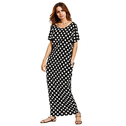 Women's Polka Dot Casual Summer Short Sleeve Pocket Long Maxi Dress