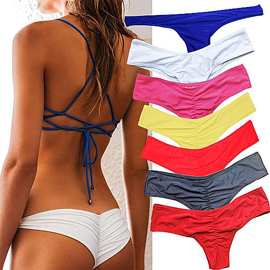 807862789 Trending product! This item has been added to cart 20 times in the last 24  hours. Women s Sexy Ruched Solid Color Bikini Bottom Swimwear ...
