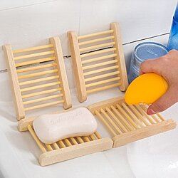 Wooden hand soap holder