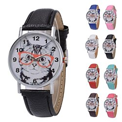 Fashion Cat with Glasses Pattern Watch Hot Sale Unisex Leather Quartz Analog Wrist Simple Round Case Watch relogio feminino