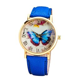 Hot Sale Womens Butterfly Style Leather Band Analog Quartz Wrist Watch Women Ladies Dress Watches Female Casual Wristwatches
