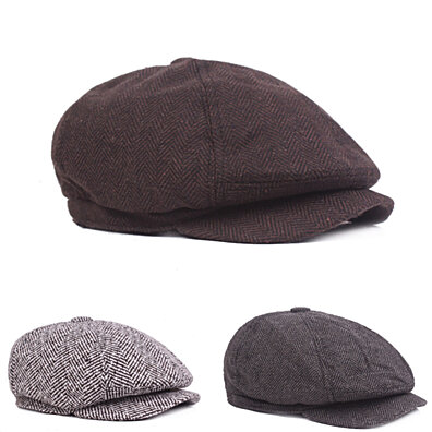 a6a41961 Fashion Classic Newsboy Beret Hat Men's Knitted Outdoor Casual Octagonal Cap