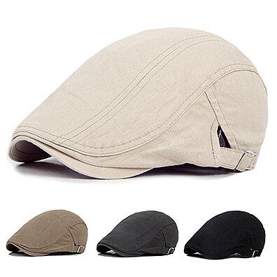 9b569680 Men Casual Classic Solid Color Flat Cabbie Newsboy Ivy Hat Cotton Sun Beret  Cap