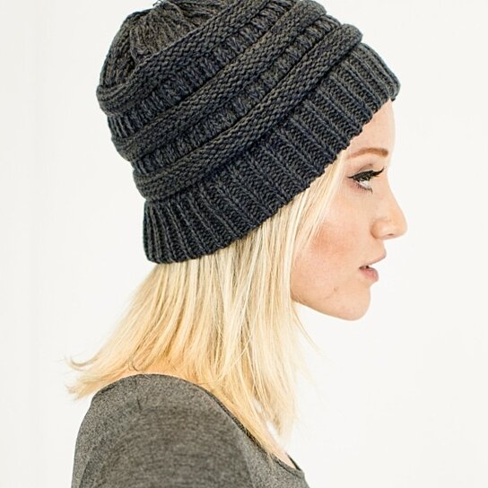 0faa31c96 Unisex Soft Stretch Knit Slouchy Beanie (Two Toned- Navy/Gray)