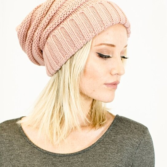 df30d52ad8a Trending product! This item has been added to cart 37 times in the last 24  hours. Unisex Soft Stretch Oversized Knit Slouchy Beanie (Indie Pink)