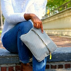 Black and White striped clutch by NKHenry